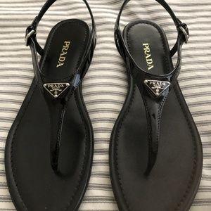 Prada Black Patent T-Strap Sandals Sz 41